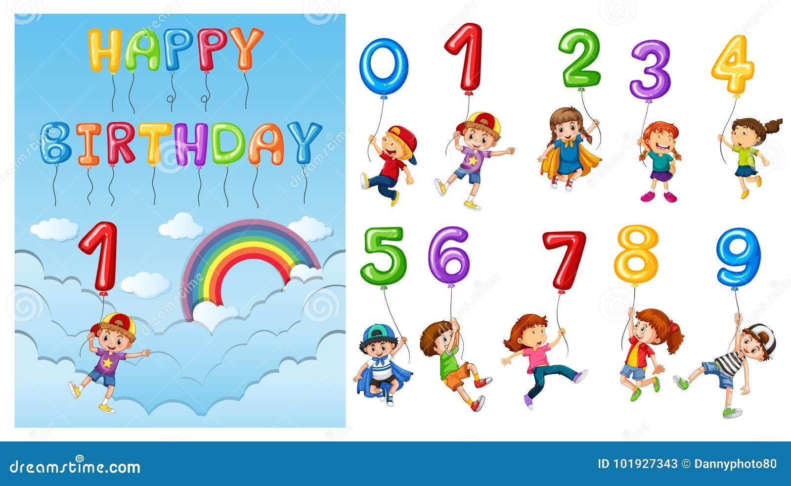 Kinder mit Zahlen und Ballonen