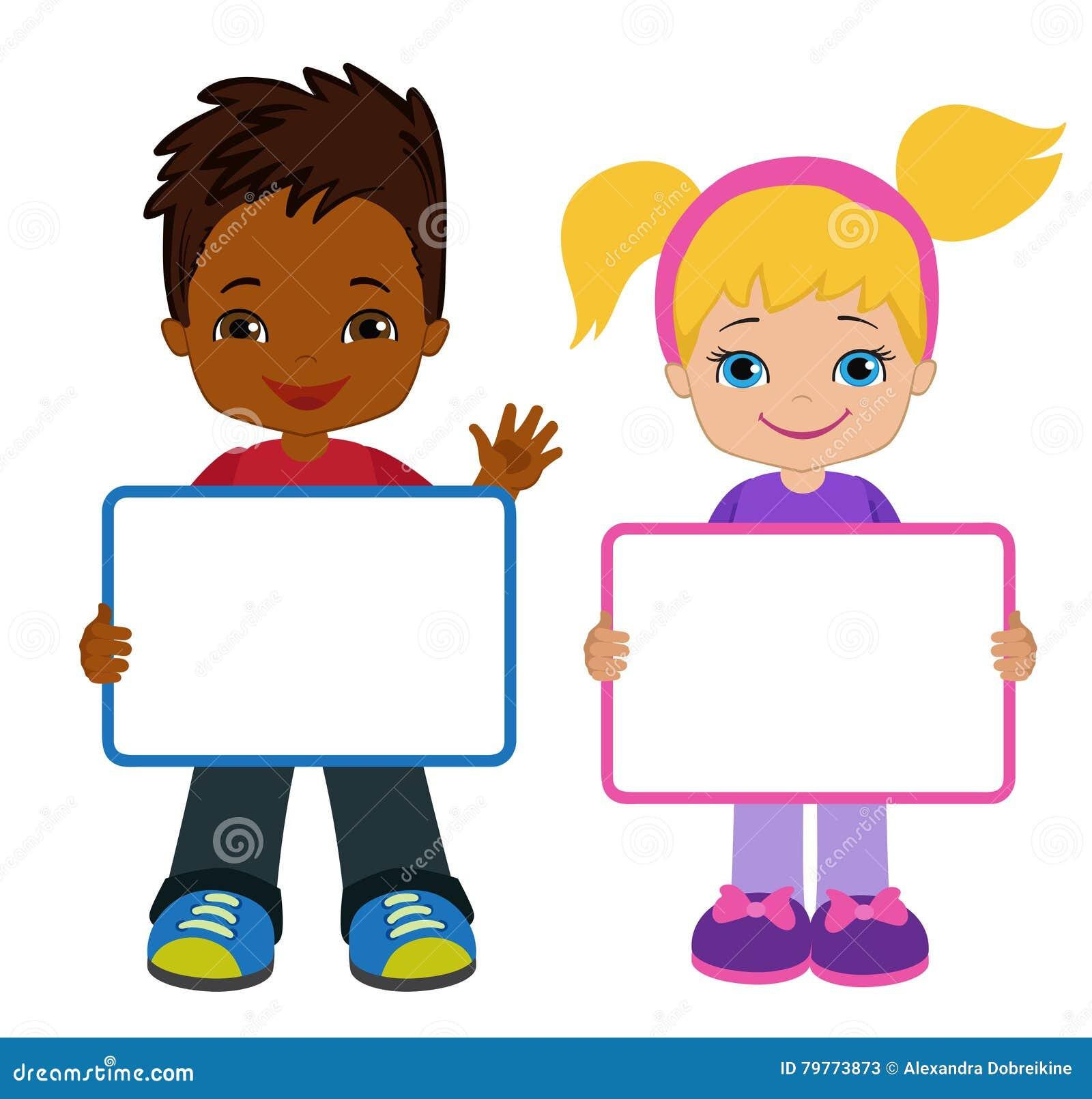 Kinder Mit Zeichen Bricht-Kinder Rahmen-Brett Clipart Weißes Brett ...