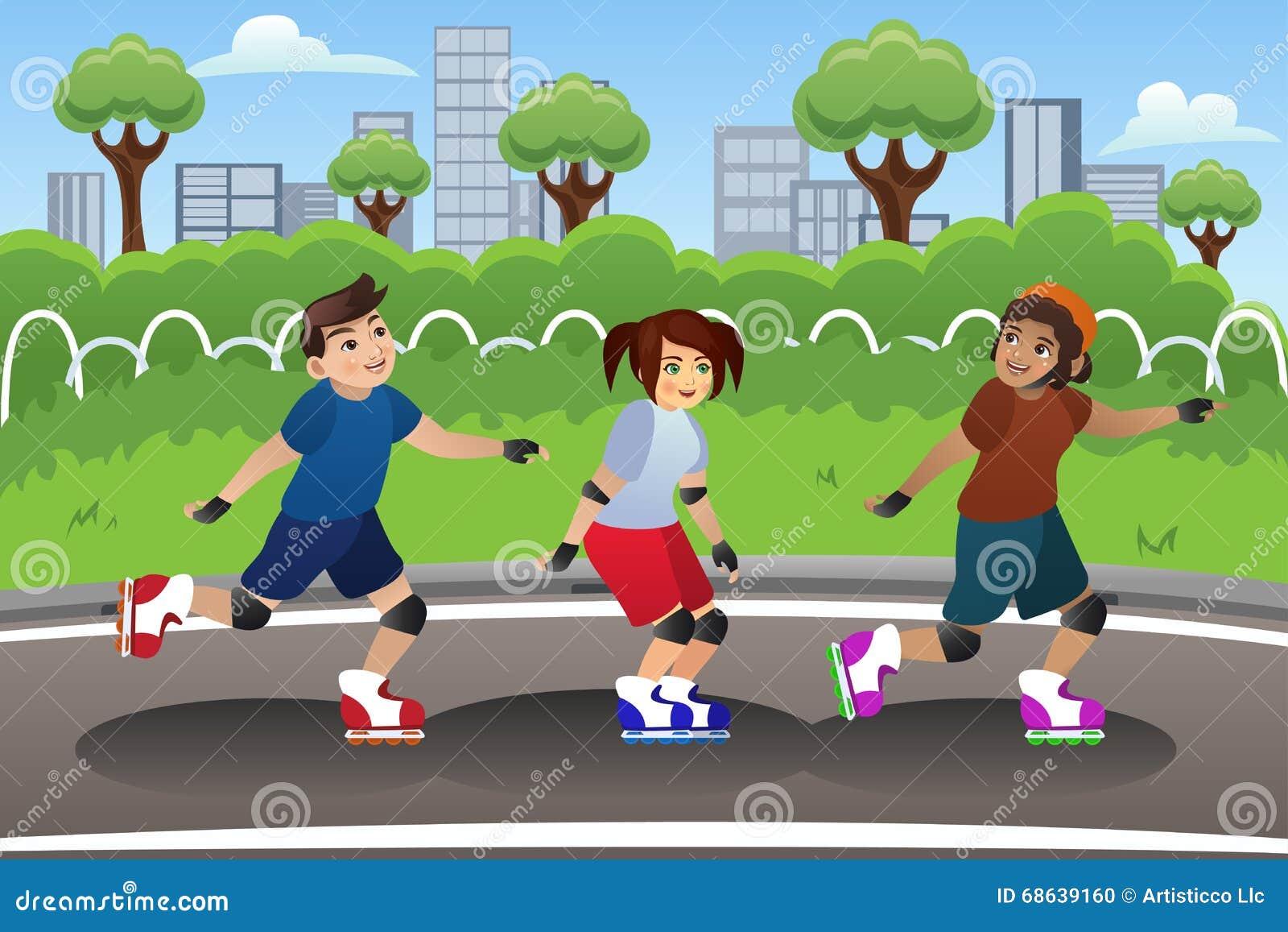 Kinder Rollerblading im Freien