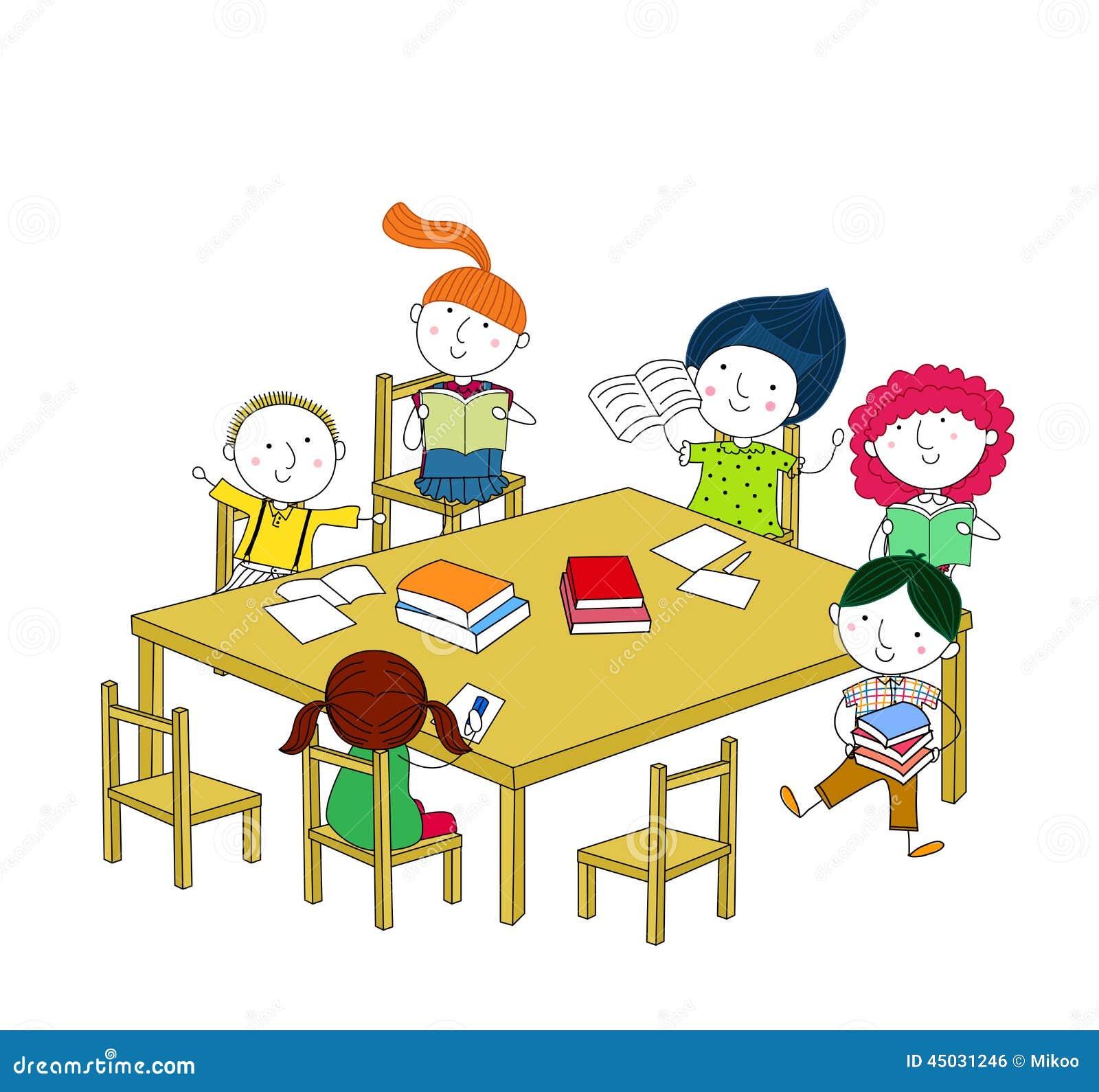 kinder schreiben und lesen und sitzen am tisch vektor abbildung bild 45031246. Black Bedroom Furniture Sets. Home Design Ideas