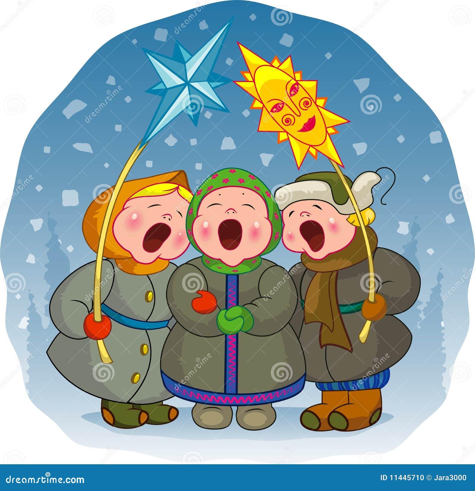 Lustige Weihnachtslieder Für Kinder.Kinder Singen Ein Weihnachtslied Vektor Abbildung Illustration Von