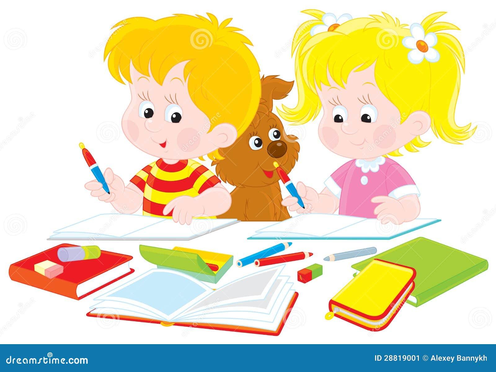 Kinder Tun Hausarbeit Vektor Abbildung Illustration Von Schulkinder