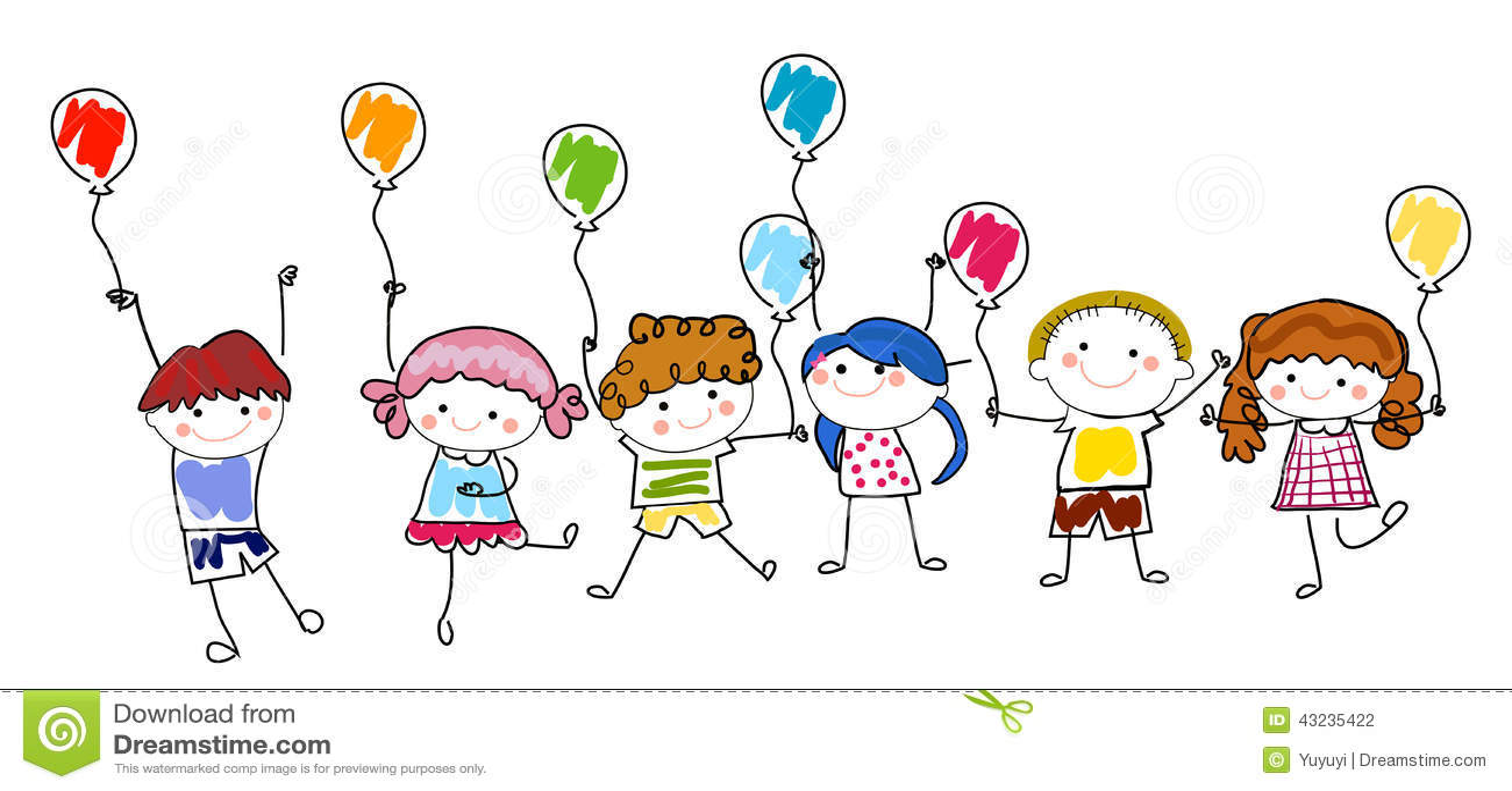 Kinder und Ballon vektor abbildung. Illustration von ...