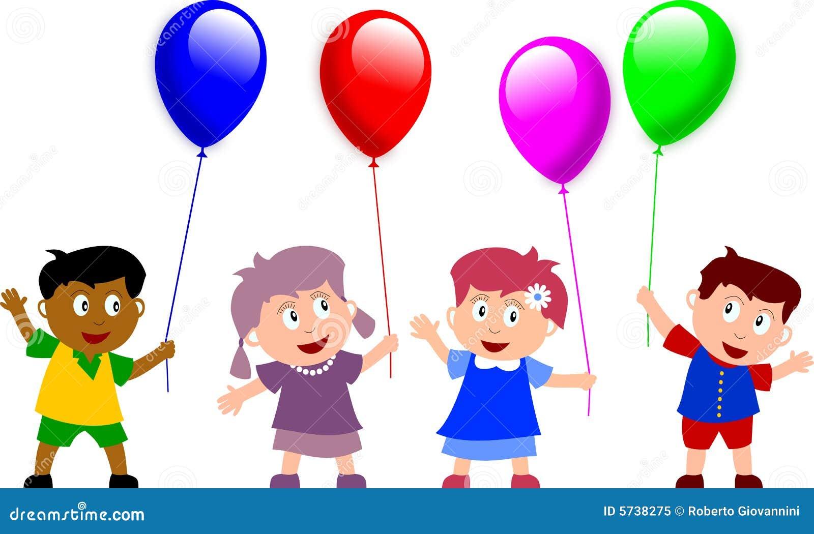 Kinder und Ballone stock abbildung. Illustration von nett ...