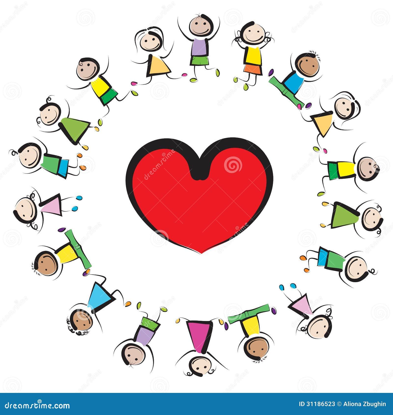 Kinder und Herz vektor abbildung. Illustration von zeichen ...