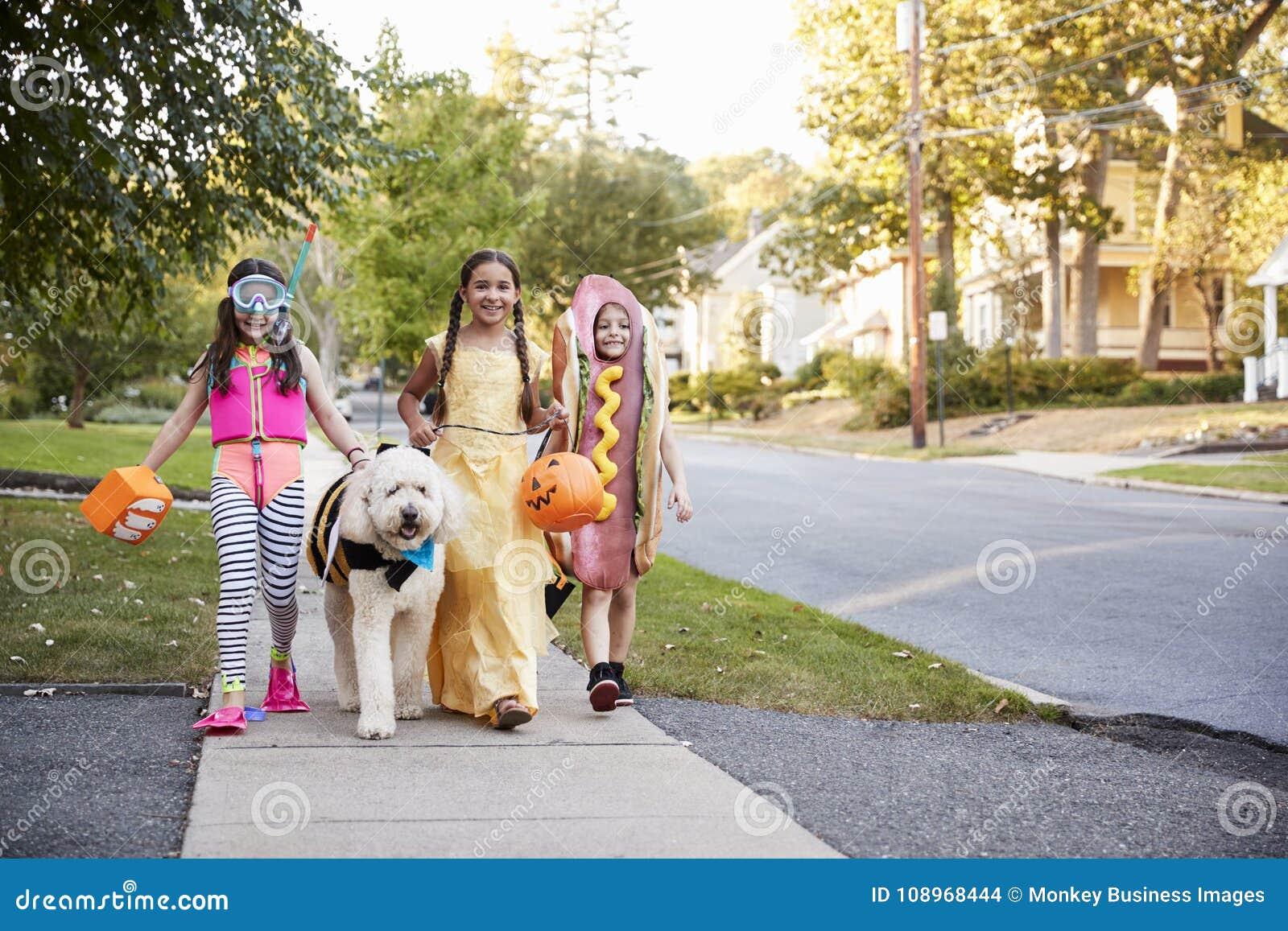 Kinder und Hund in Halloween-Kostümen für Trick oder die Behandlung