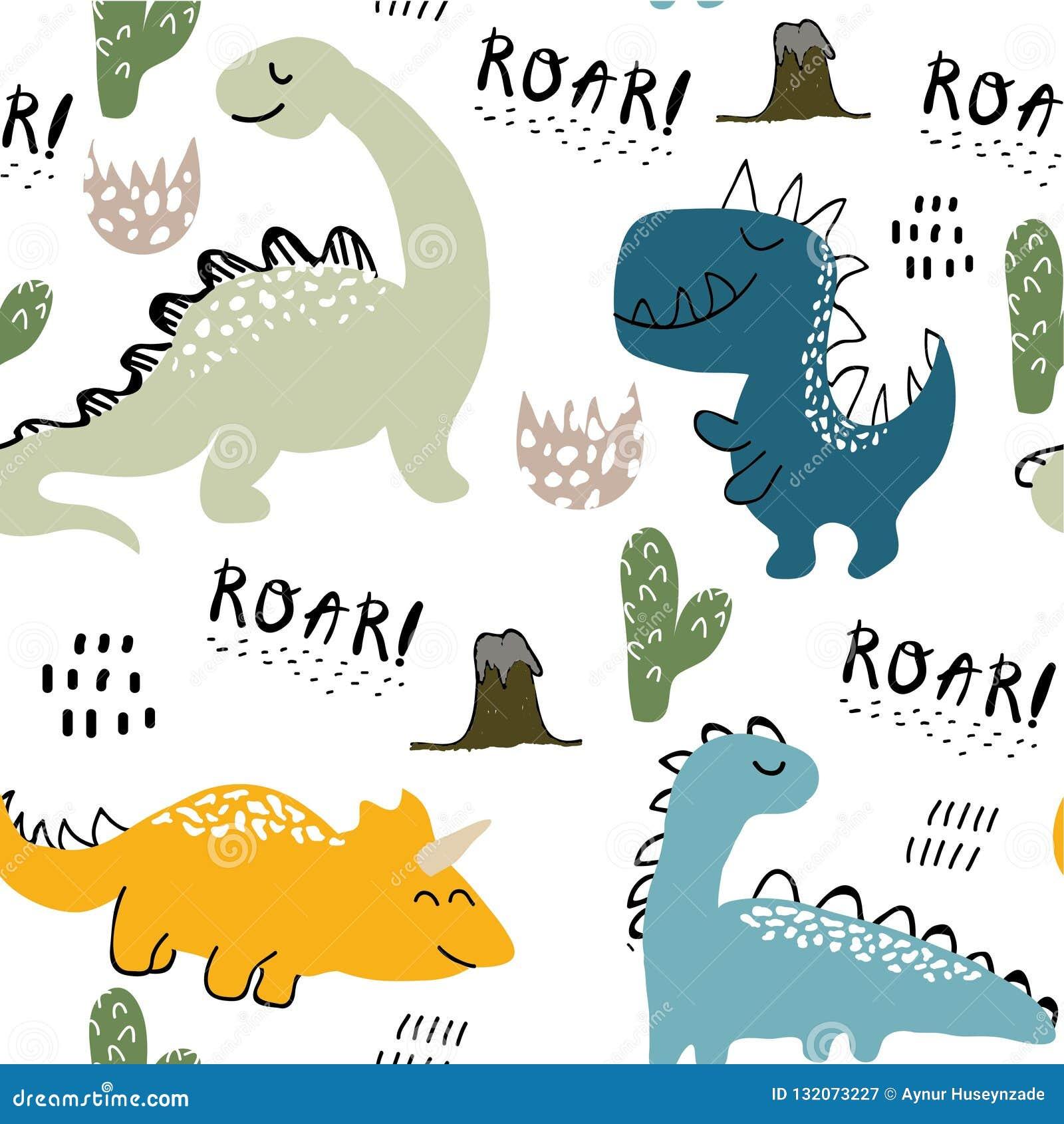 Kinderachtig dinosaurus naadloos patroon voor manierkleren, stof, t-shirts Hand getrokken vector met het van letters voorzien