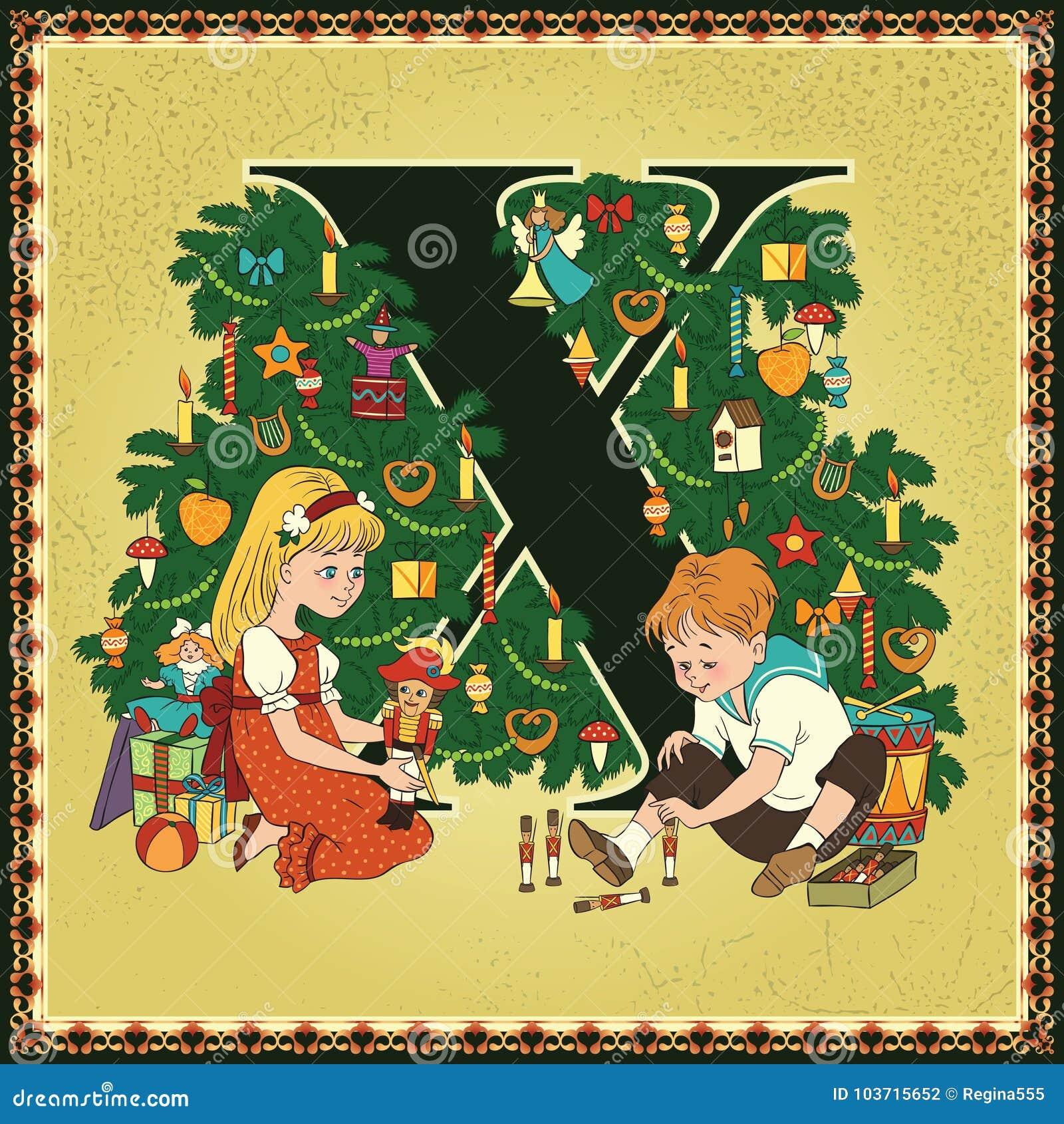 Kinderbuch Weihnachten.Kinderbuch Karikaturmarchenalphabet Zeichen X Weihnachten