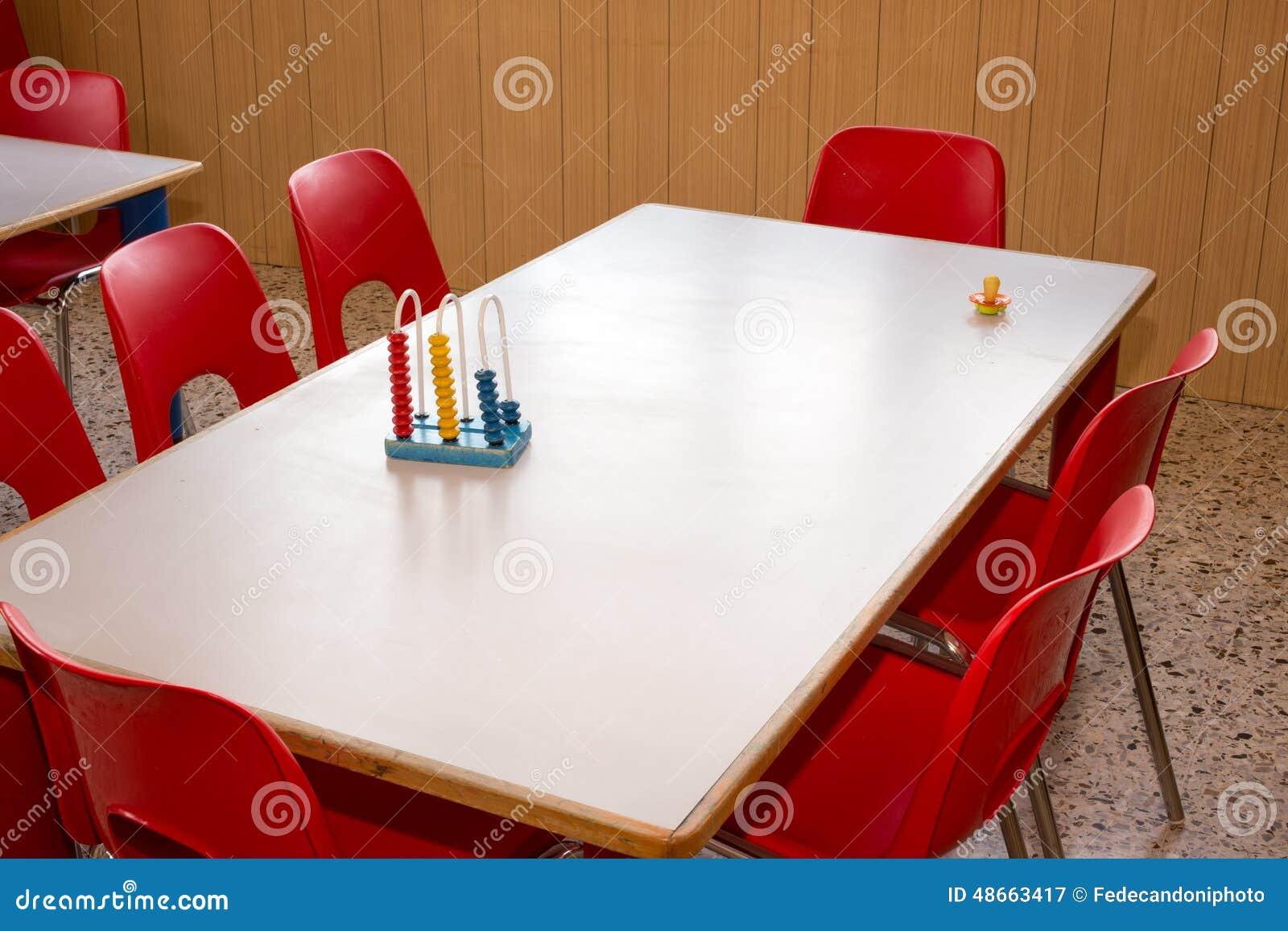 Kinderdagverblijf met rode stoelen en bureaus voor kinderen