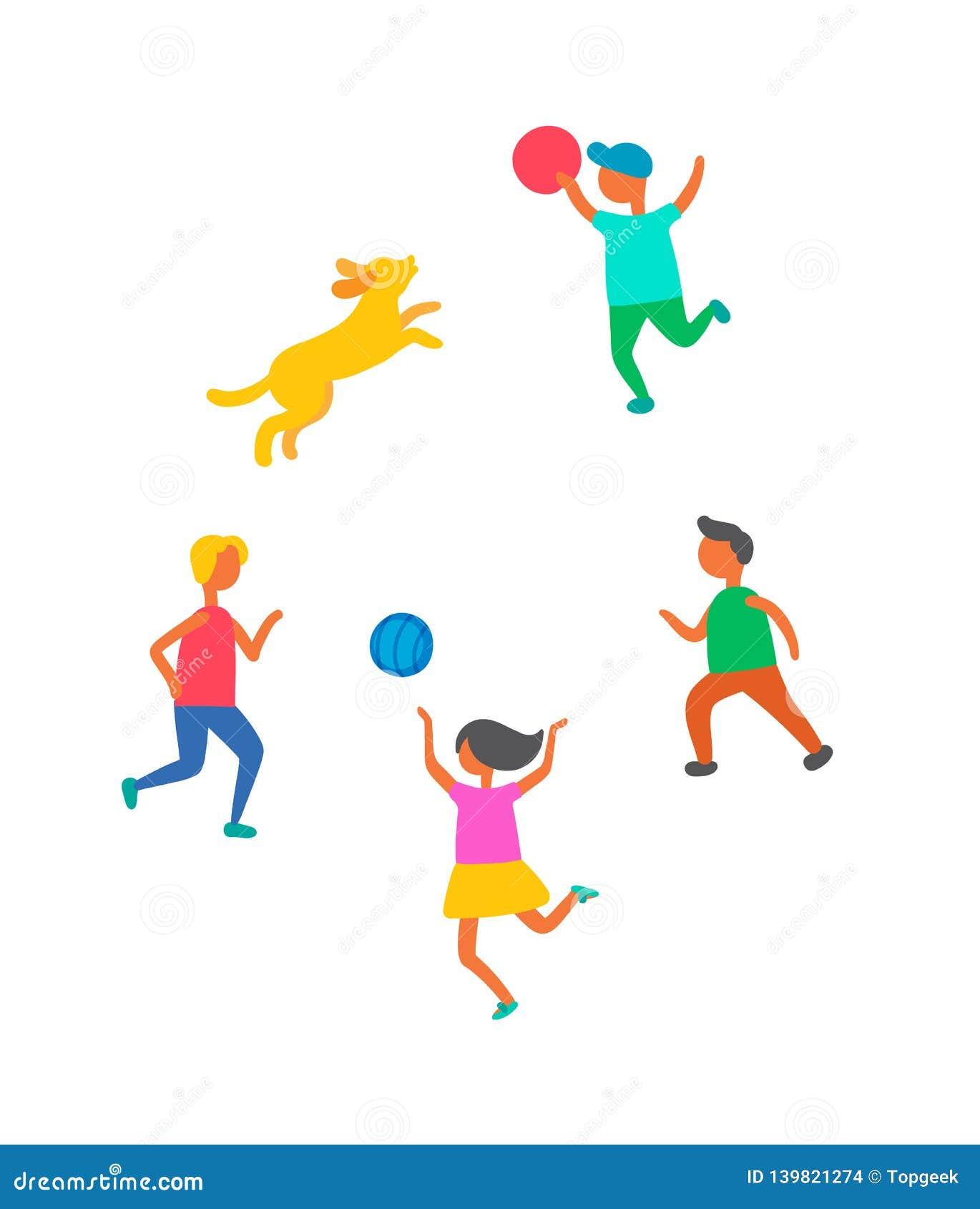 Kinderen die in Bal, de Vector van het Hondhuisdier in openlucht spelen