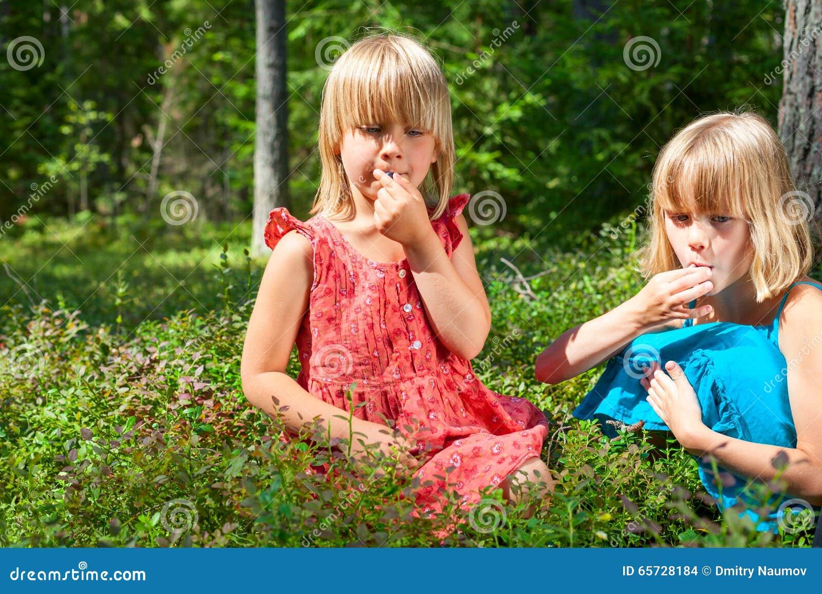 Kinderen die bessen in een de zomerbos plukken