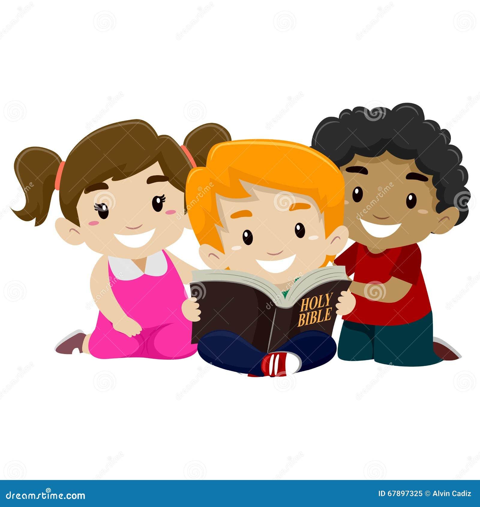 Bekend Kinderen die Bijbel lezen vector illustratie. Illustratie #BY16