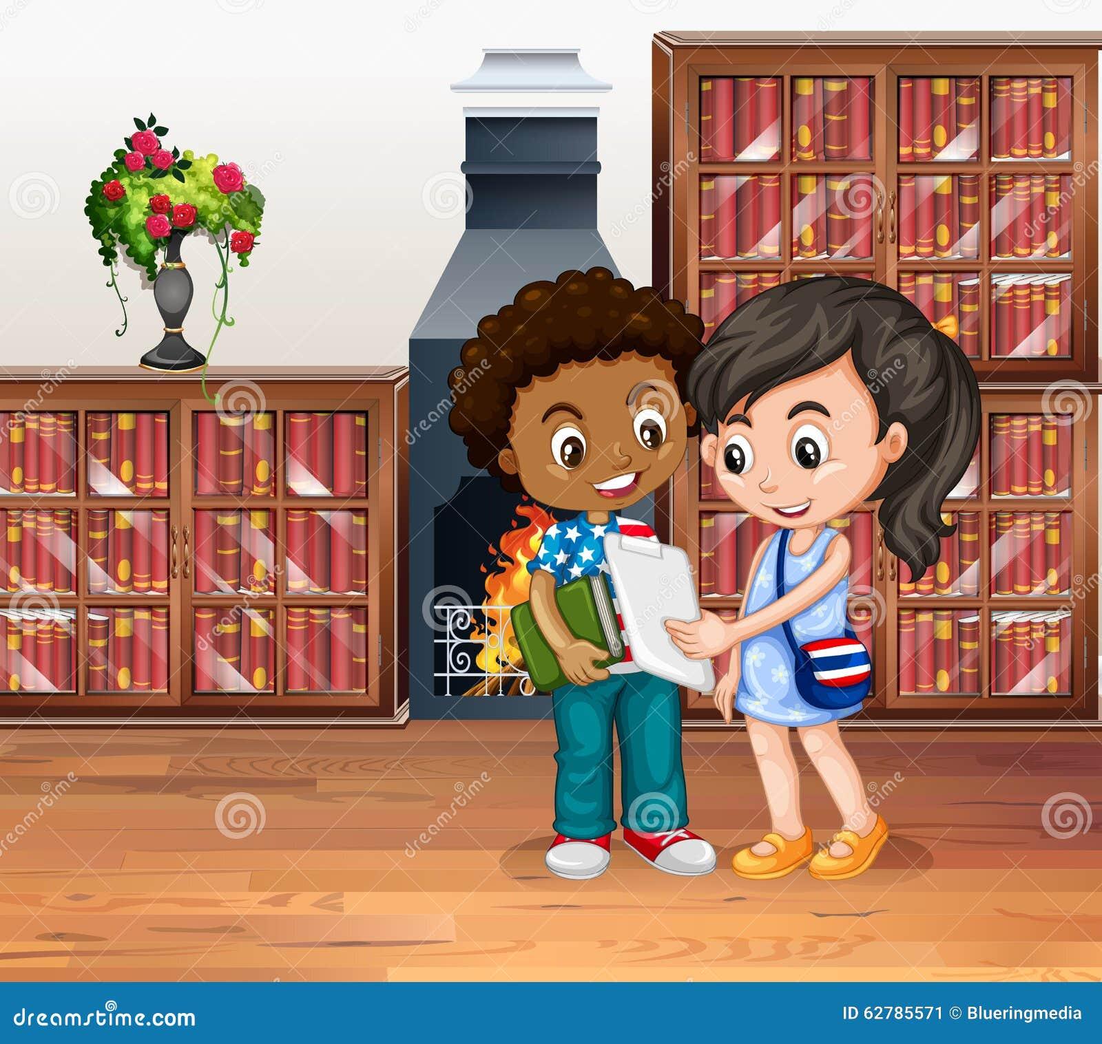 Kinderen die in de bibliotheek werken