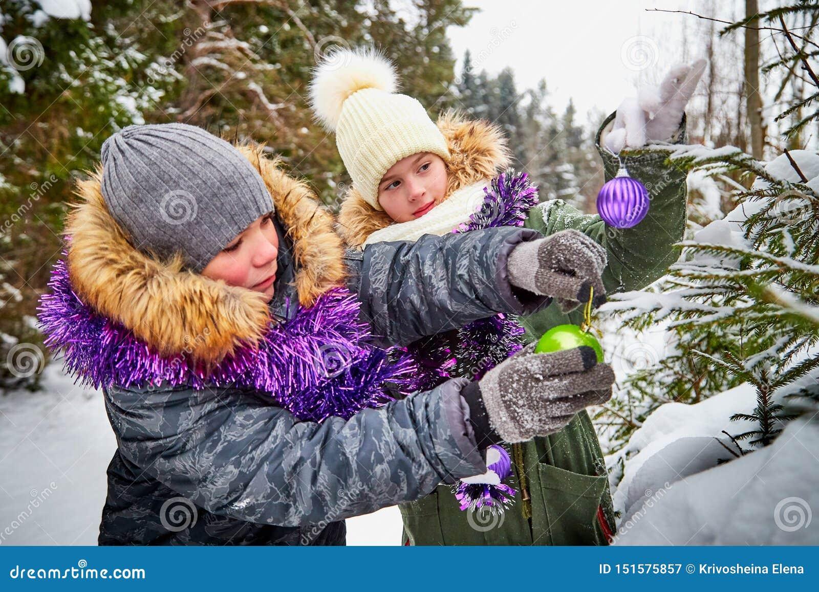 Kinderen die een Kerstboom in sneeuwbos verfraaien in een de winterdag Tieners die rust en pret in weekend hebben openlucht