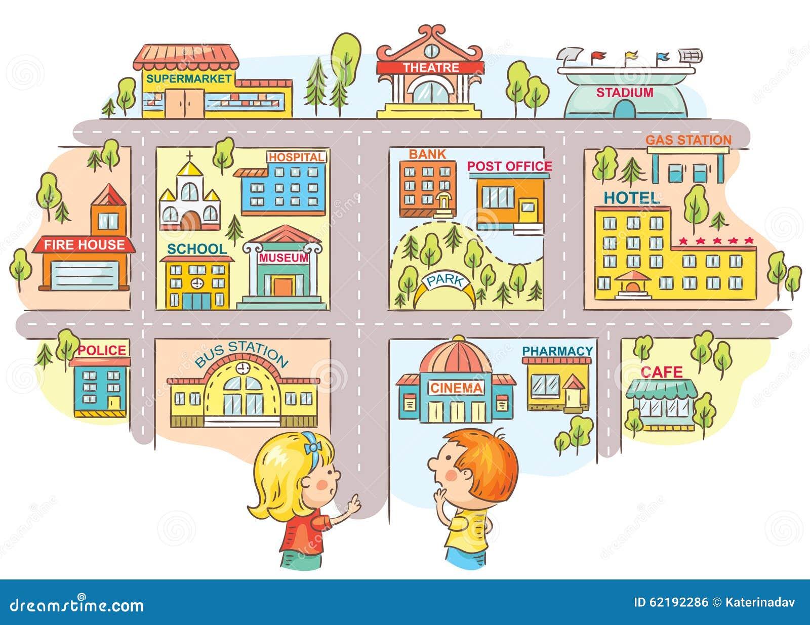 Kinderen die en de manier vragen vertellen aan verschillende stadsgebouwen