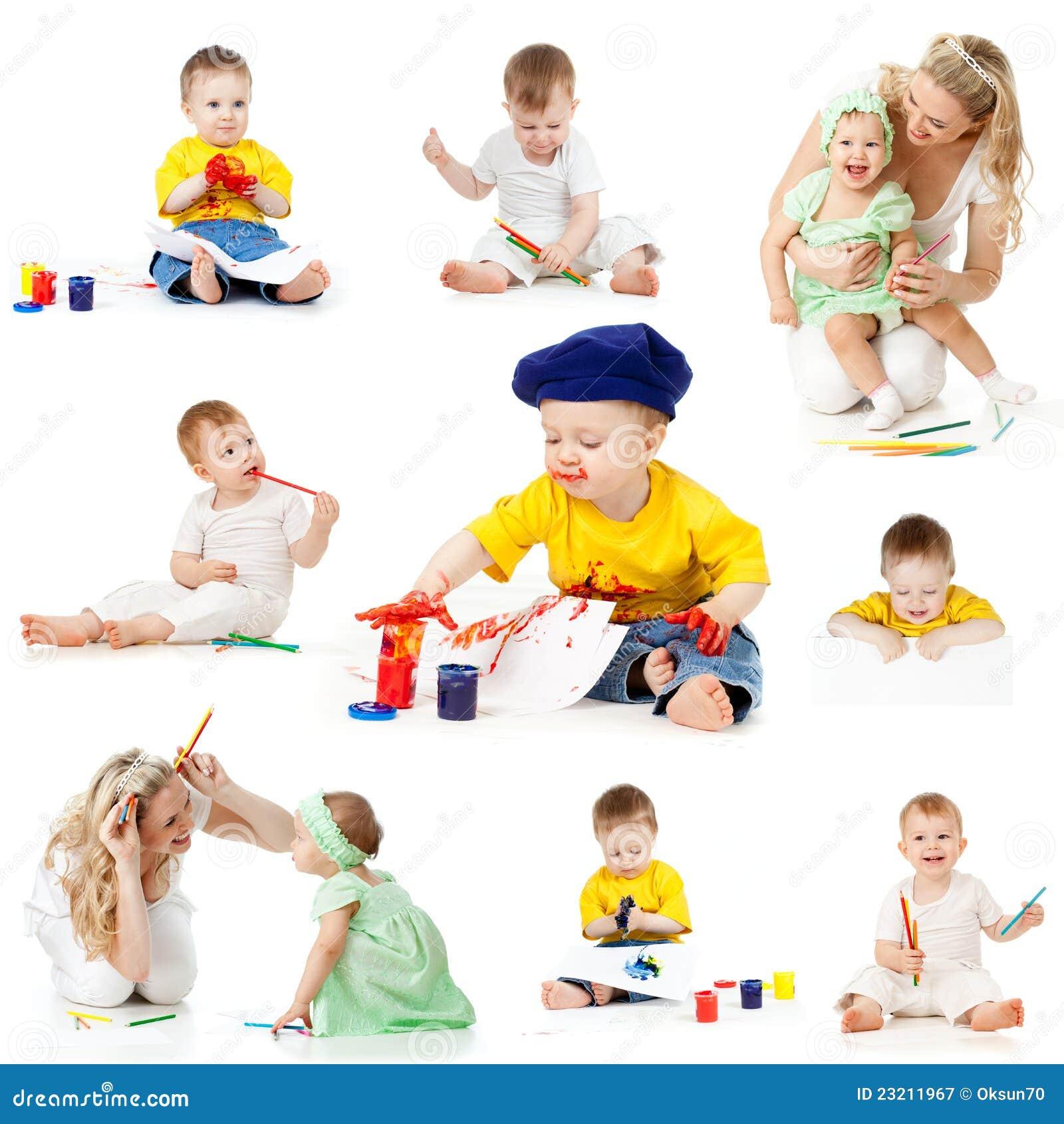 Kinderen die en potloden schilderen trekken royalty vrije stock fotografie afbeelding 23211967 - Schilderen kind jongen ...