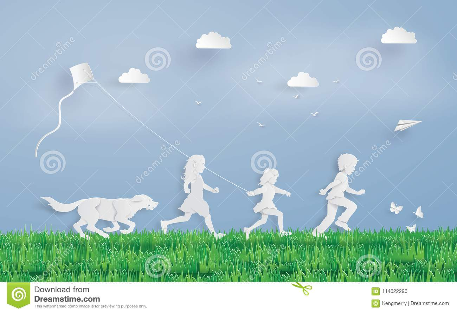 Kinderen die gebied in werking stellen
