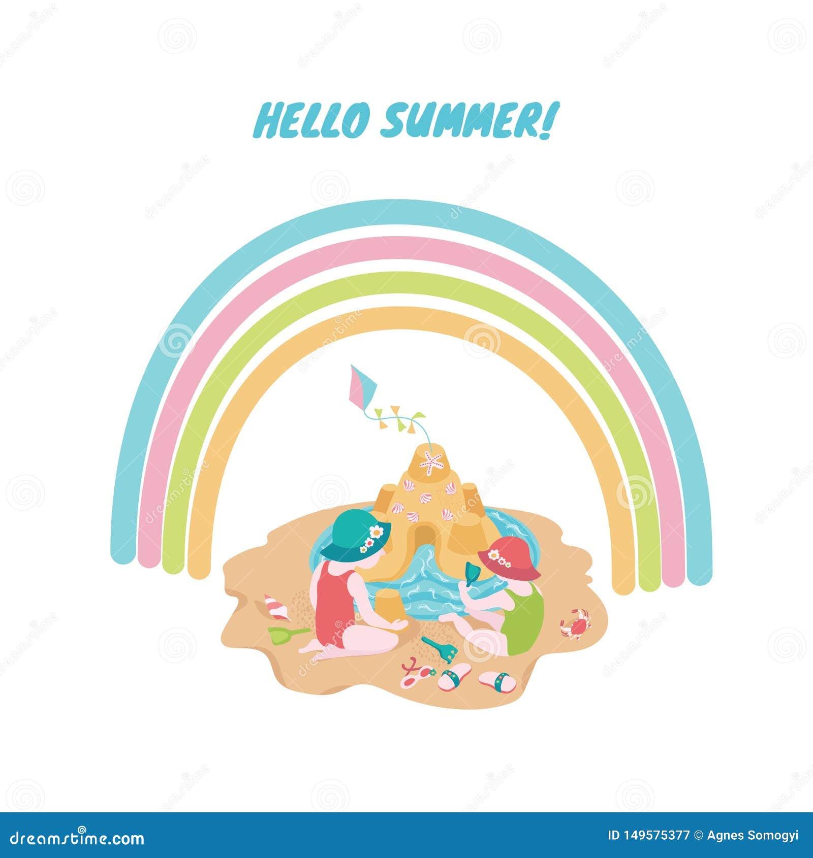 Kinderen die met zand bij het strand onder de regenboog spelen Leuke de zomerillustratie voor plaatsingsdruk, uitnodiging