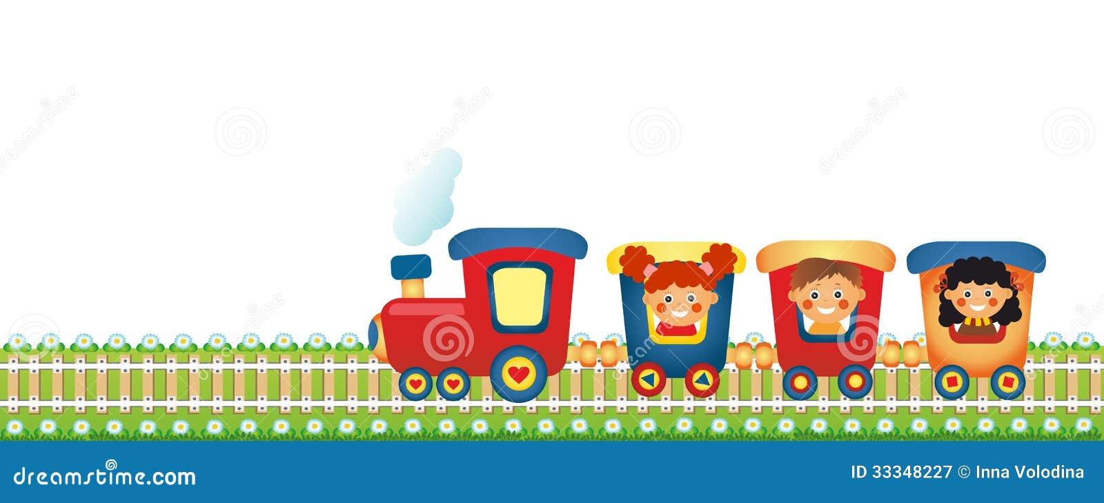 Kinderen Die Trein Berijden Stock Illustratie Illustratie