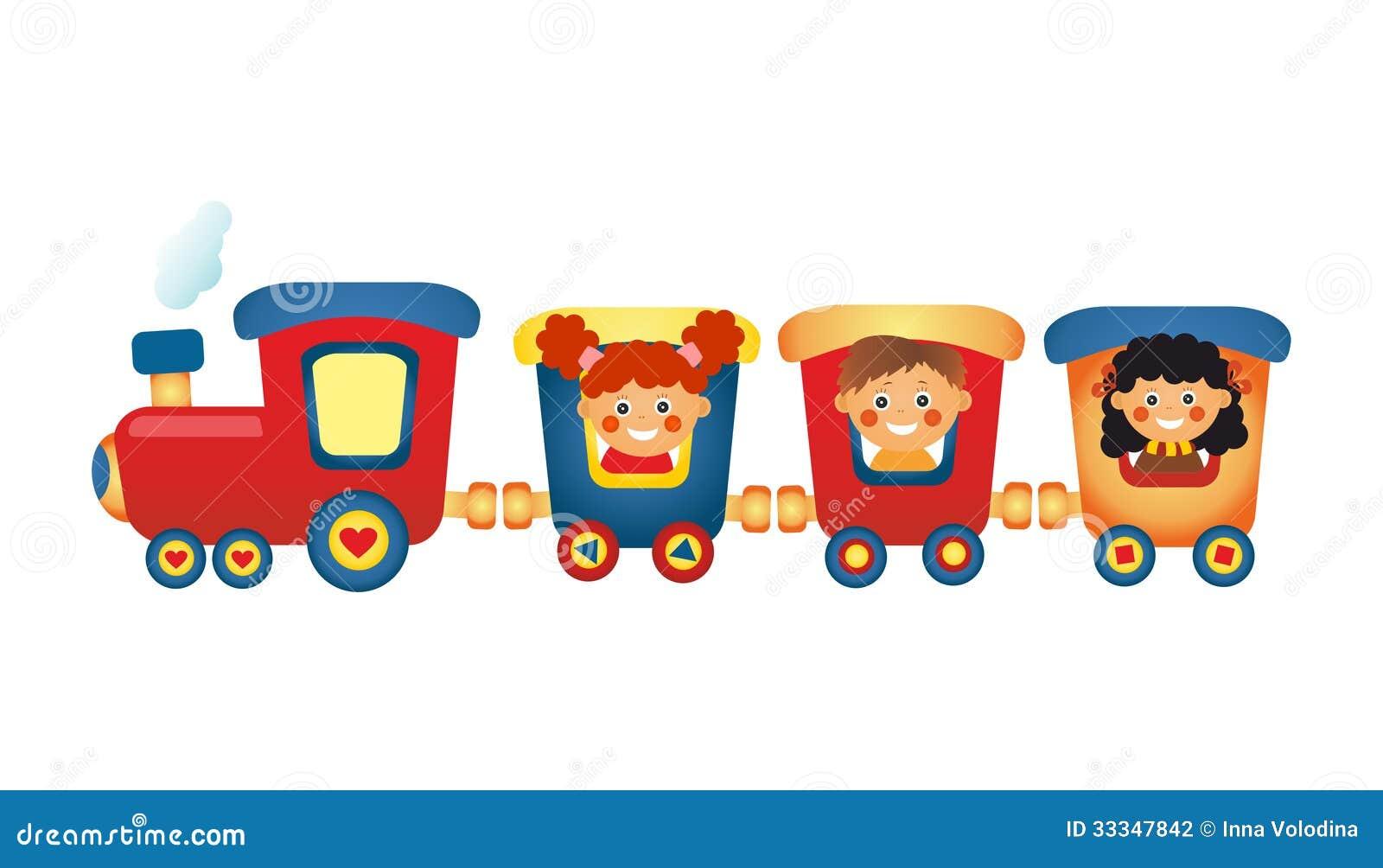Kinderen Die Trein Berijden Op Witte Achtergrond Stock Illustratie