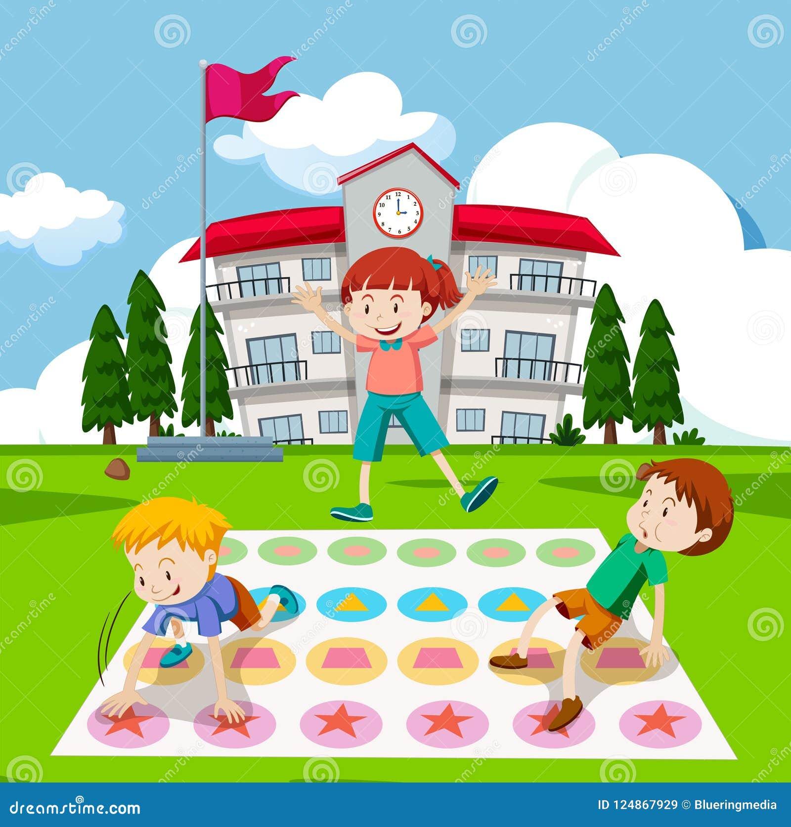 Kinderen die twister spel spelen