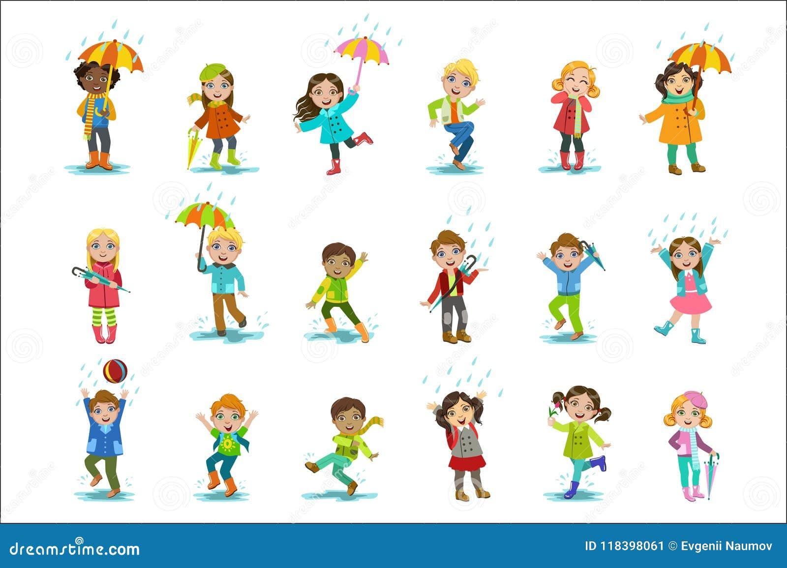 Kinderen die van de Regen genieten