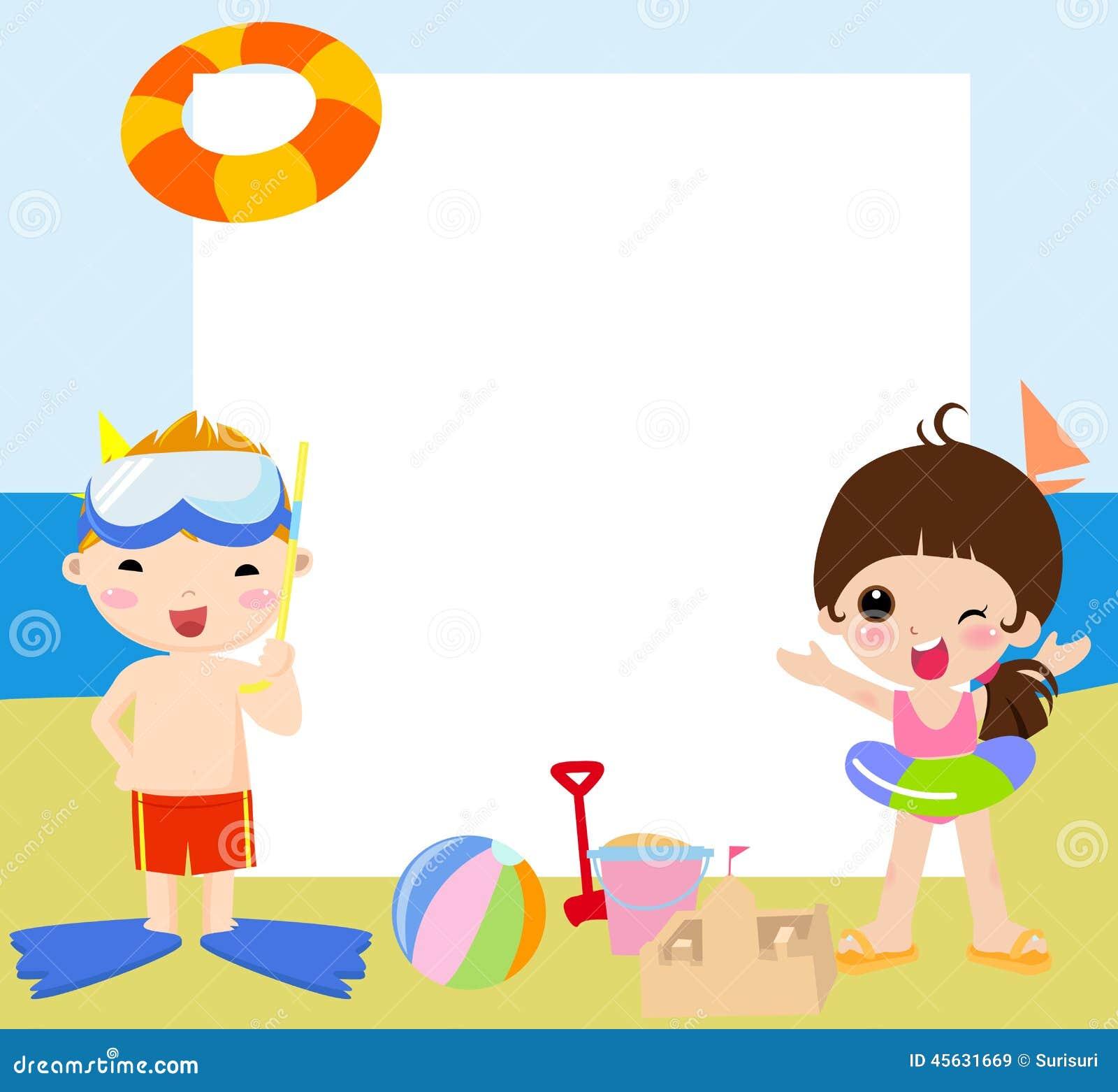 Kinderen En De Kader-zomer Vector Illustratie - Afbeelding