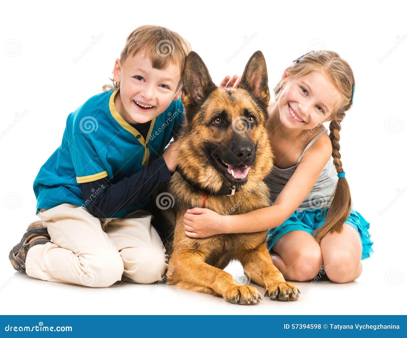 Kinderen met een herdershond