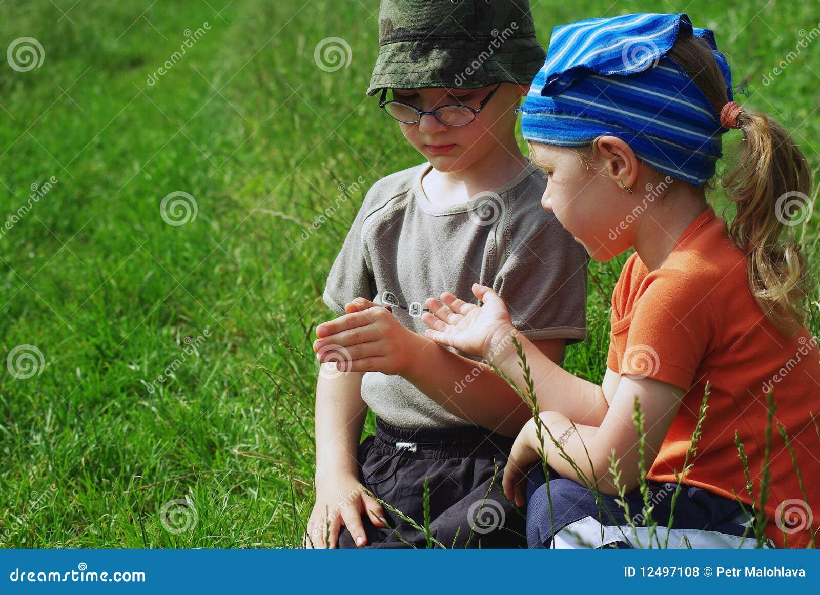 Kinderen met insect