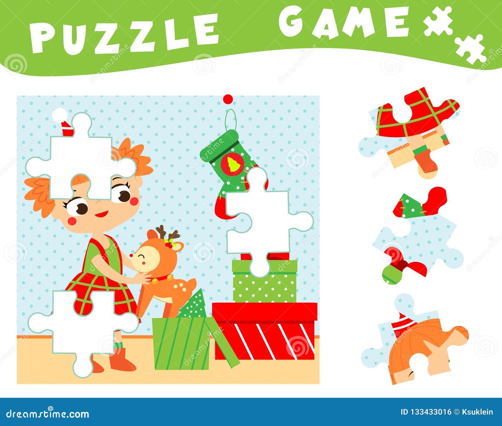 Kinderen onderwijsspel Kerstmis en nieuw jaarraadsel voor peuters, babys en jonge geitjes Plaats ontbrekende delen van beeld