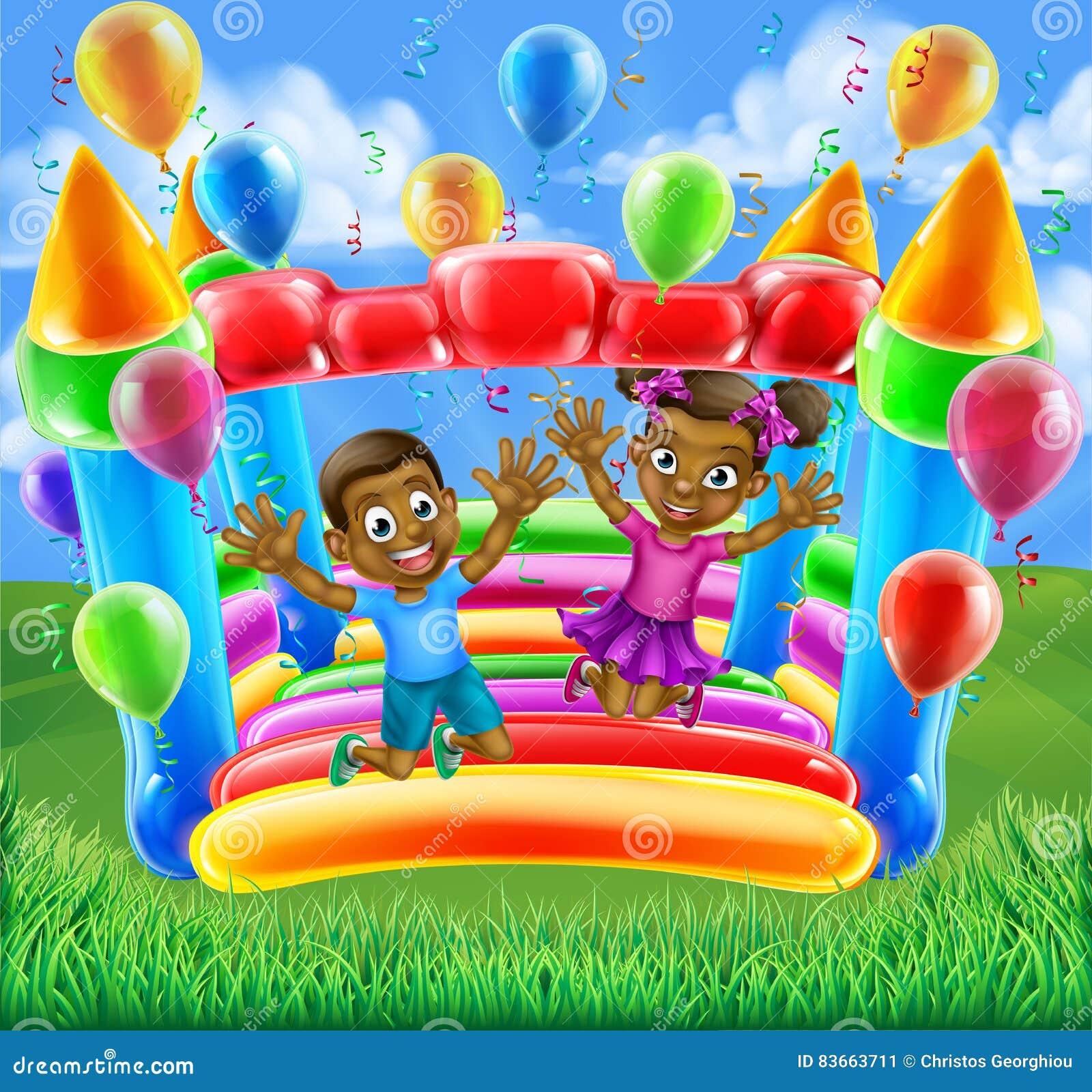 Kinderen op bouncykasteel