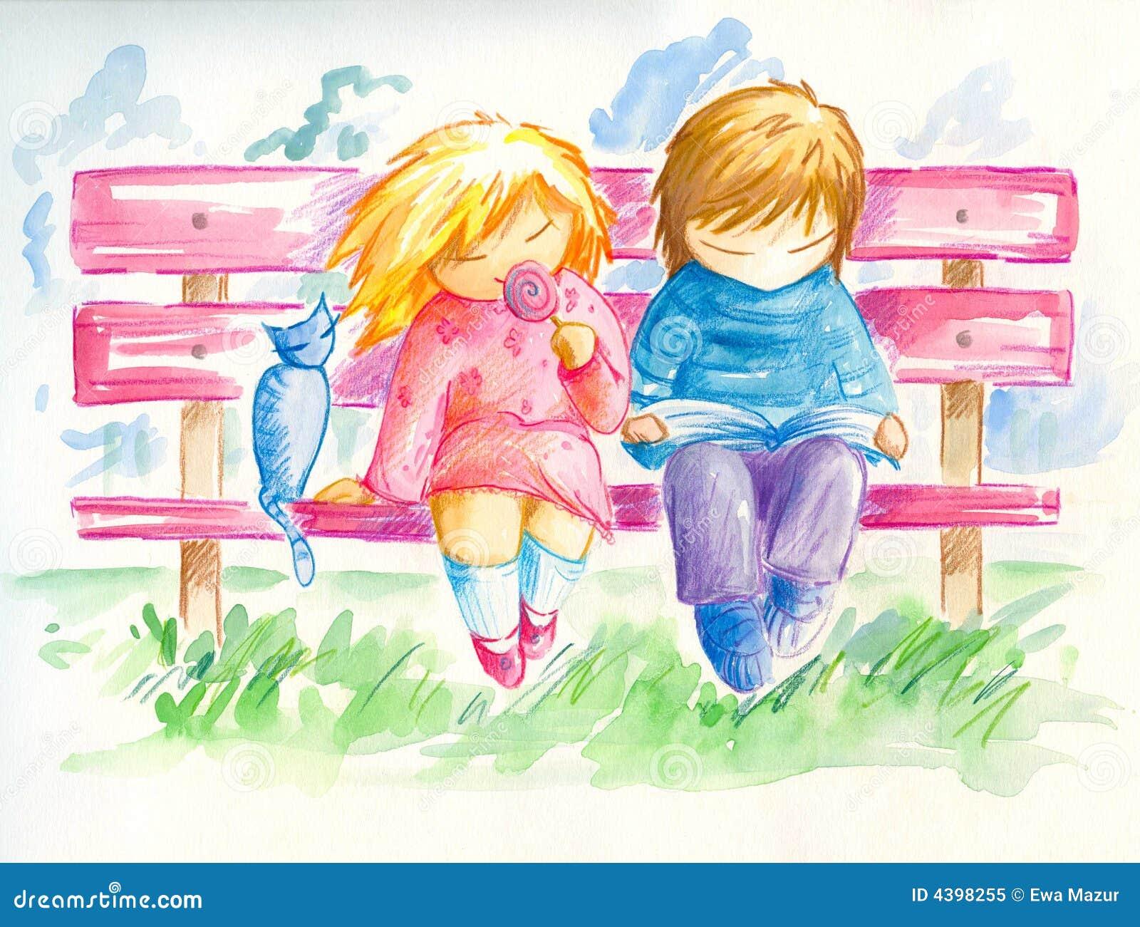Kinderen op de bank royalty vrije stock foto beeld 4398255 - Twee meisjes en een jongen ...