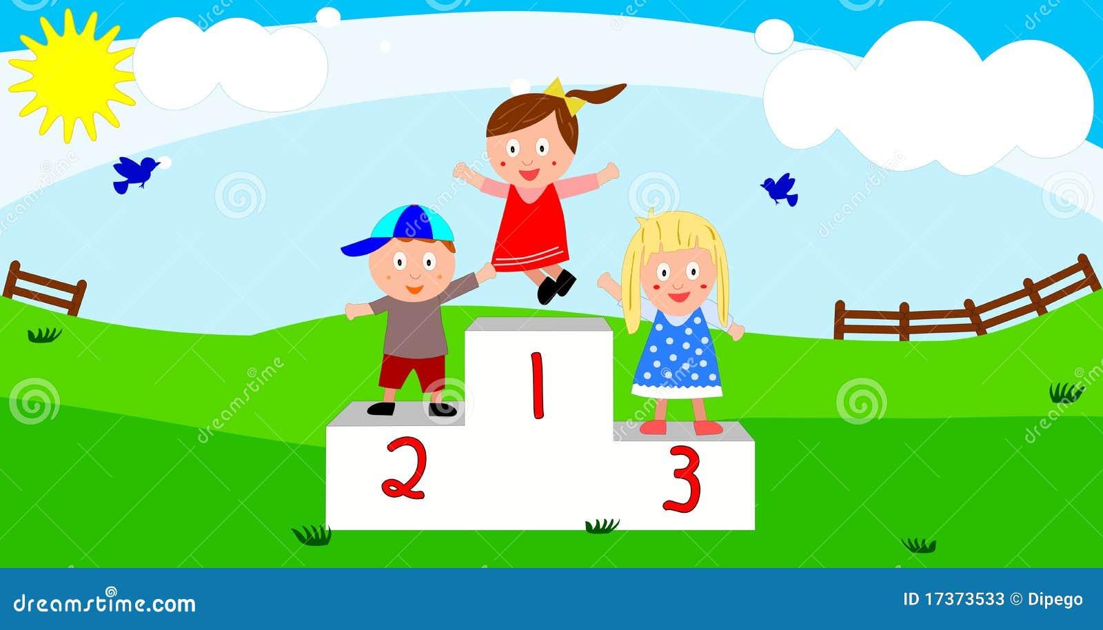 Kinderen op het podium van de winnaar stock foto 39 s afbeelding 17373533 - Twee meisjes en een jongen ...
