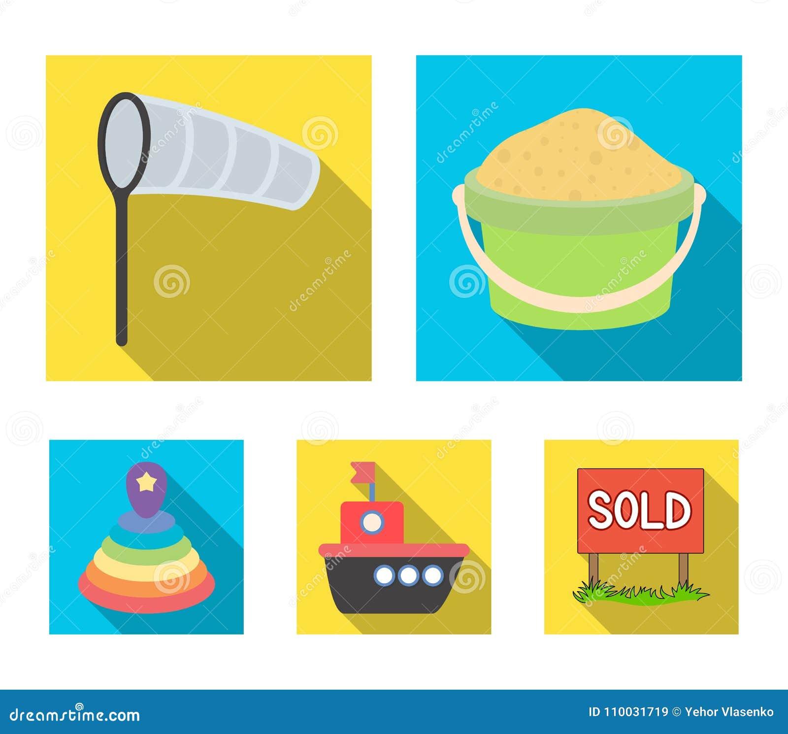Kinderen` s stuk speelgoed vlakke pictogrammen in vastgestelde inzameling voor ontwerp Spel en illustratie van het de voorraadweb
