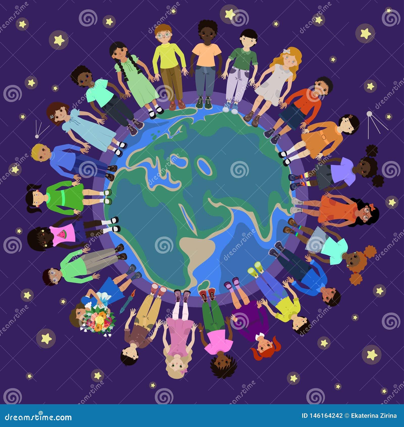 Kinderen van verschillende nationaliteiten om de bol
