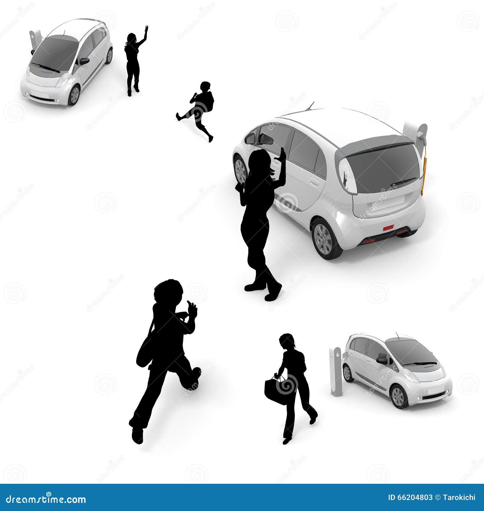 Kinderen Vrouw Elektrische Auto Stock Afbeelding Afbeelding