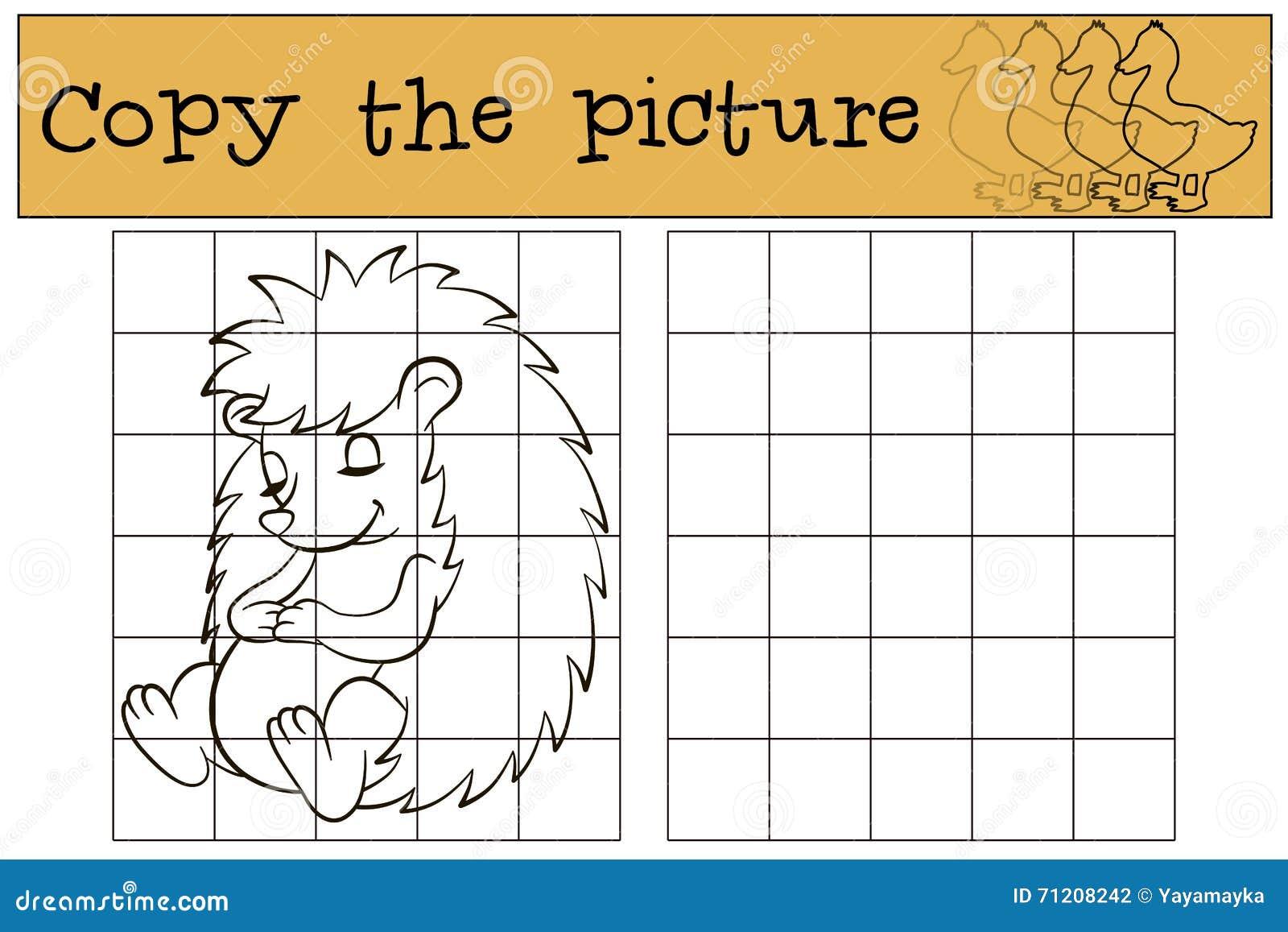 Kinderenspelen: Kopieer het beeld Weinig leuke egel