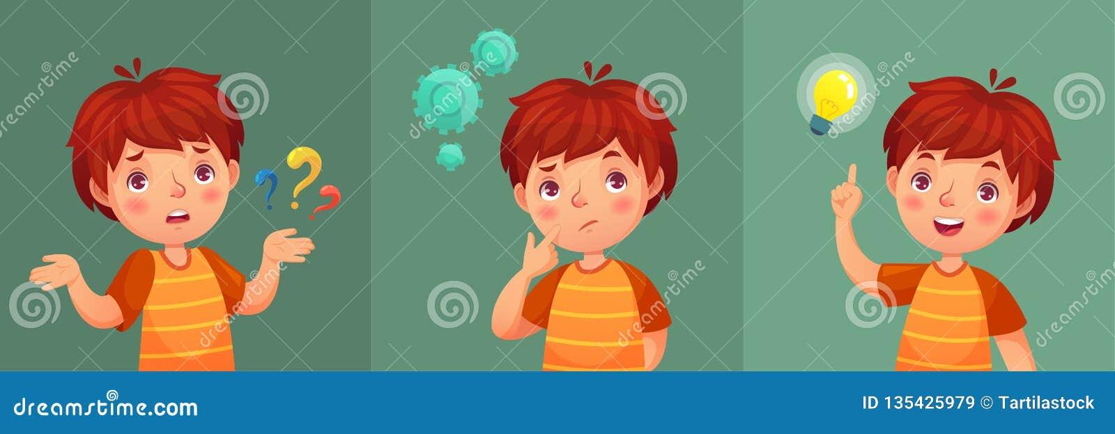 Kinderfrage Durchdachter Junge stellen Frage, verwirrtes Kind und verstehen oder fanden Antwortkarikatur-Vektorporträt