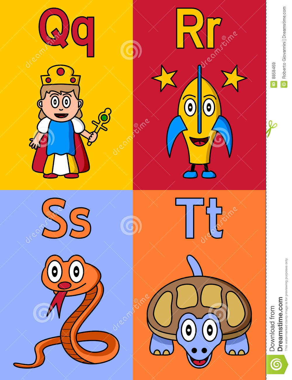 Kindergarten Alphabet Q-T Royalty Free Stock Images - Image: 8858469