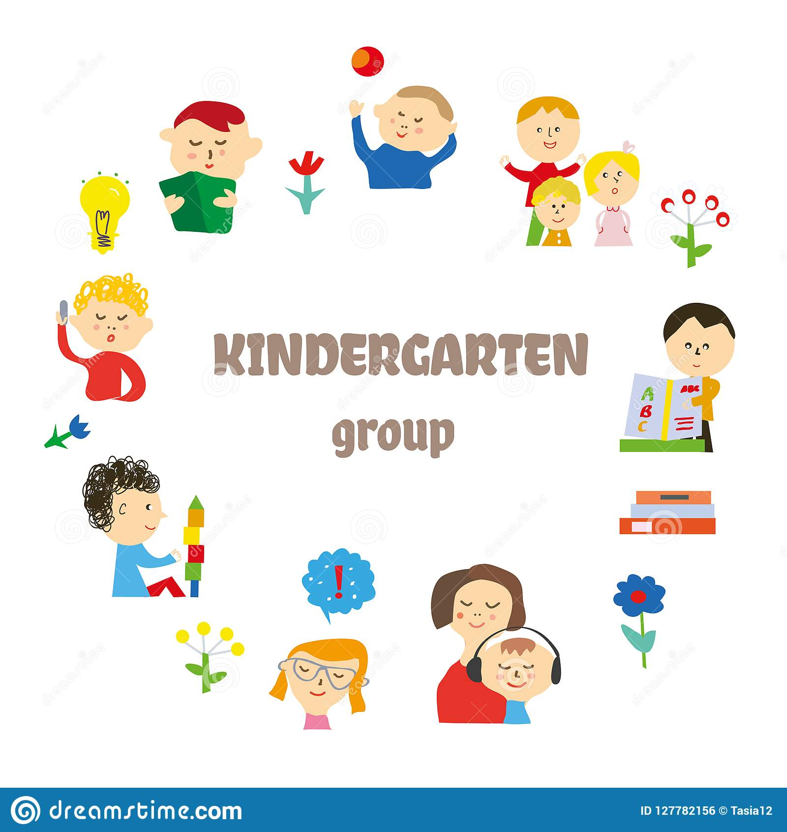 Kindergarten Background For Card Or Invitation With Kids Playing