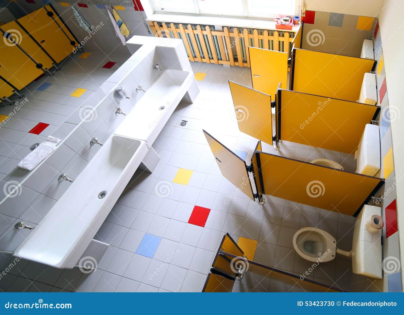 Kindergarten Bathroom With Washbasins And Cabins Stock Photo Image 53423730