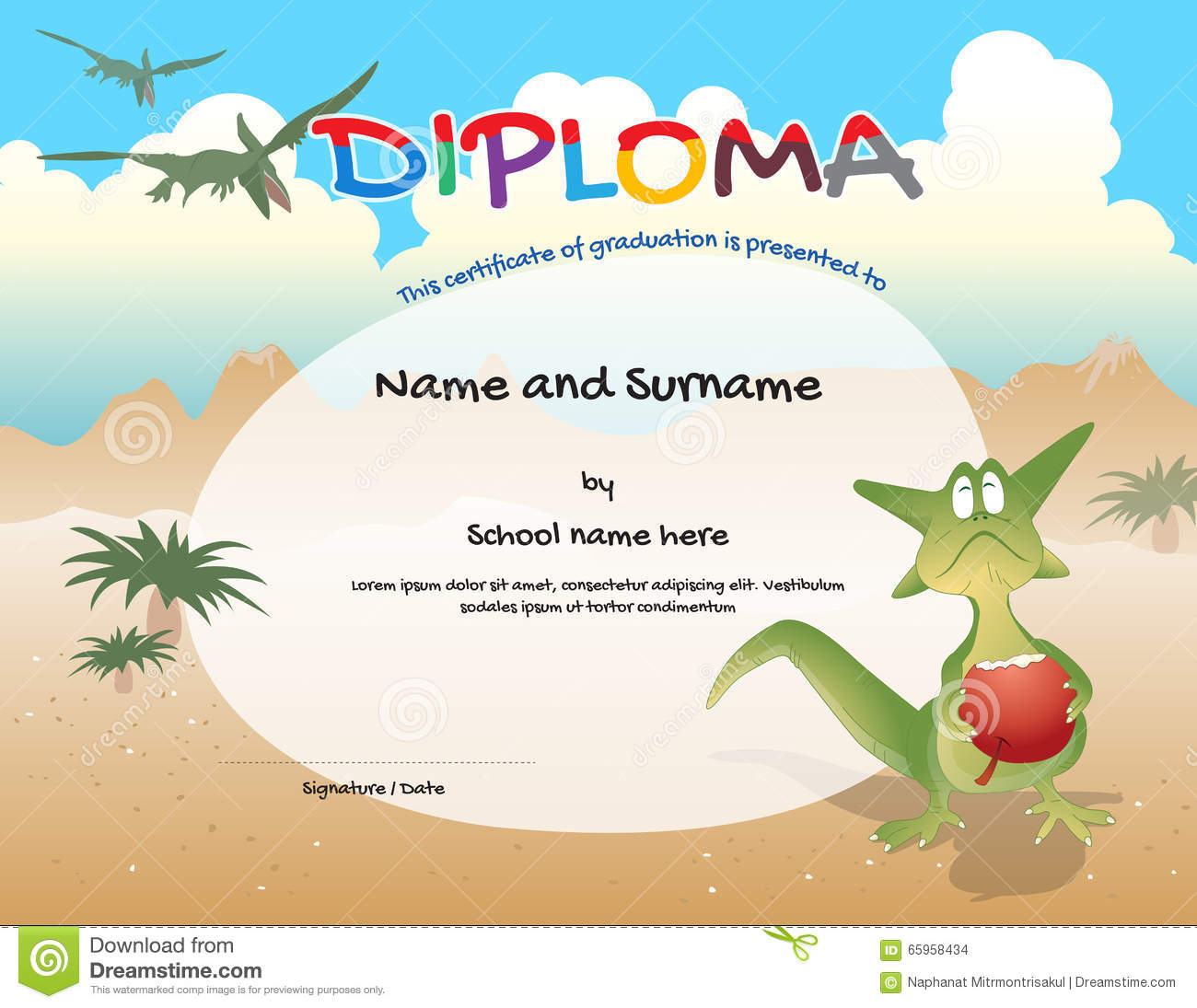 Certificate completion template children stock illustrations 82 kindergarten certificate template for preschool graduation course completion stock images yelopaper Choice Image