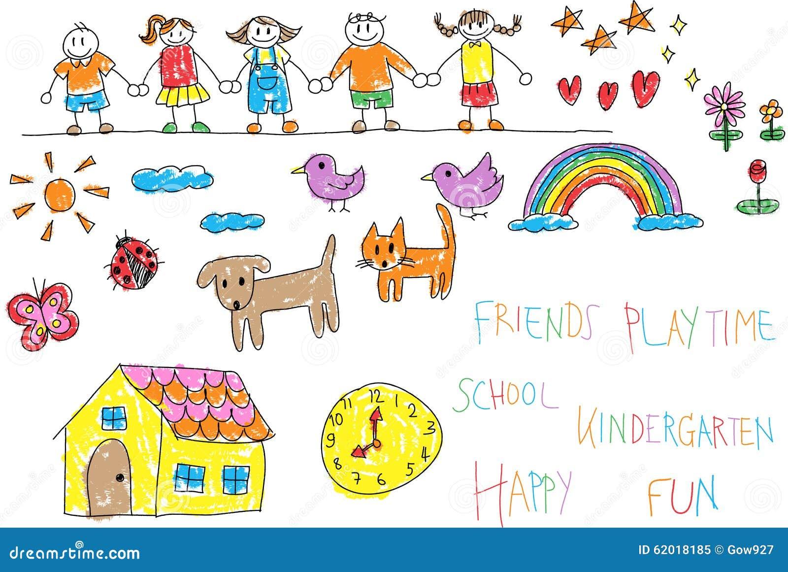 Vector Drawing Lines Kindergarten : Kindergarten children doodle pencil and crayon color
