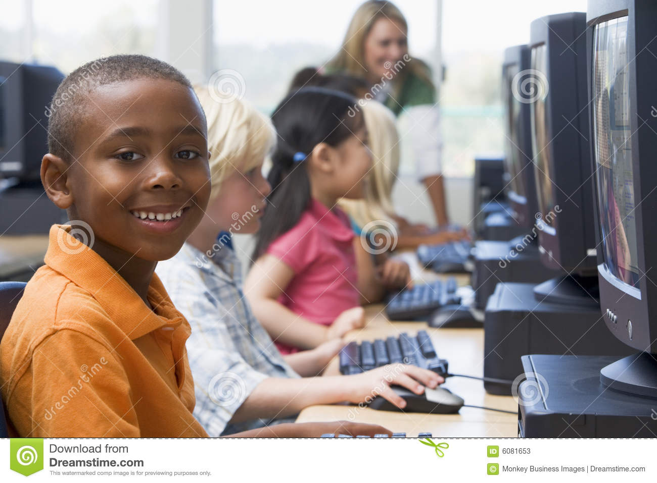 Stock Photos: Kindergarten children learning to use computers: dreamstime.com/stock-photos-kindergarten-children-learning-to-use...