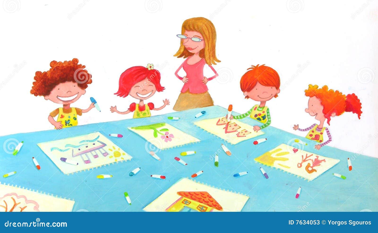 Kinder Garden: Kindergarten Classroom Stock Illustration. Image Of Pretty