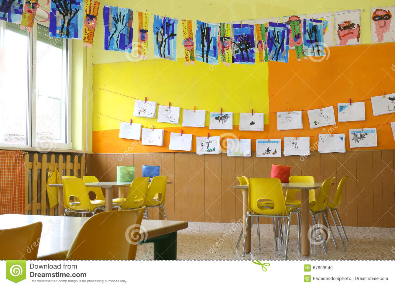 Classroom Furniture Dwg ~ Kindergarten classroom with drawings stock photo image