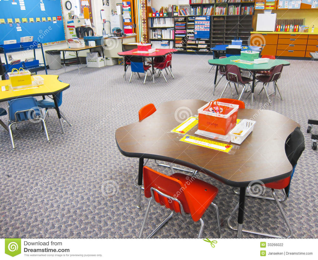 Classroom Furnitures ~ Kindergarten classroom stock photo image of preschool