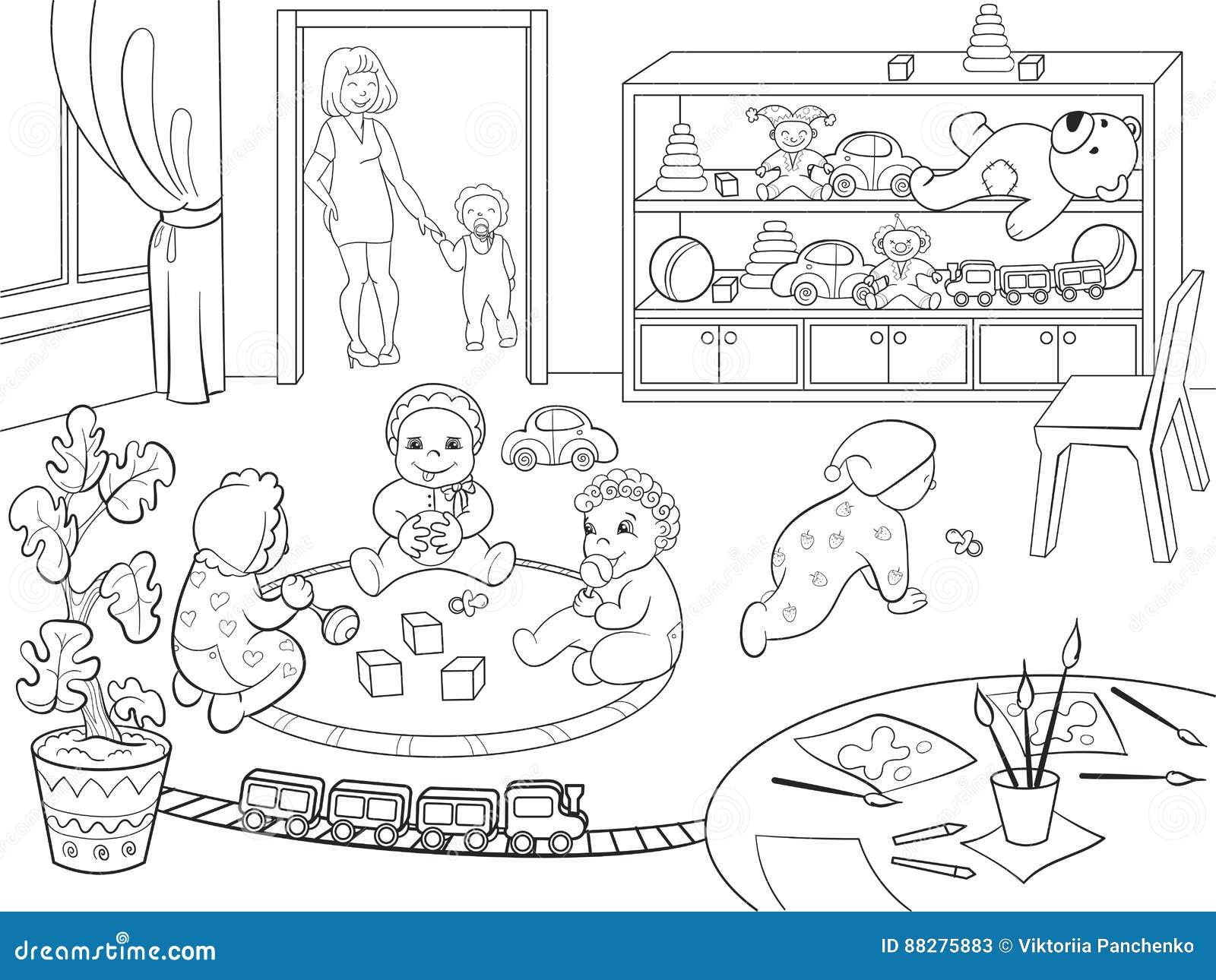 Kindergarten Coloring Book For Children Cartoon Vector Illustration ...