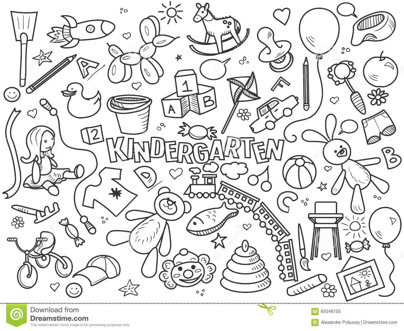 Line Drawing Kindergarten : Kindergarten colorless set vector stock