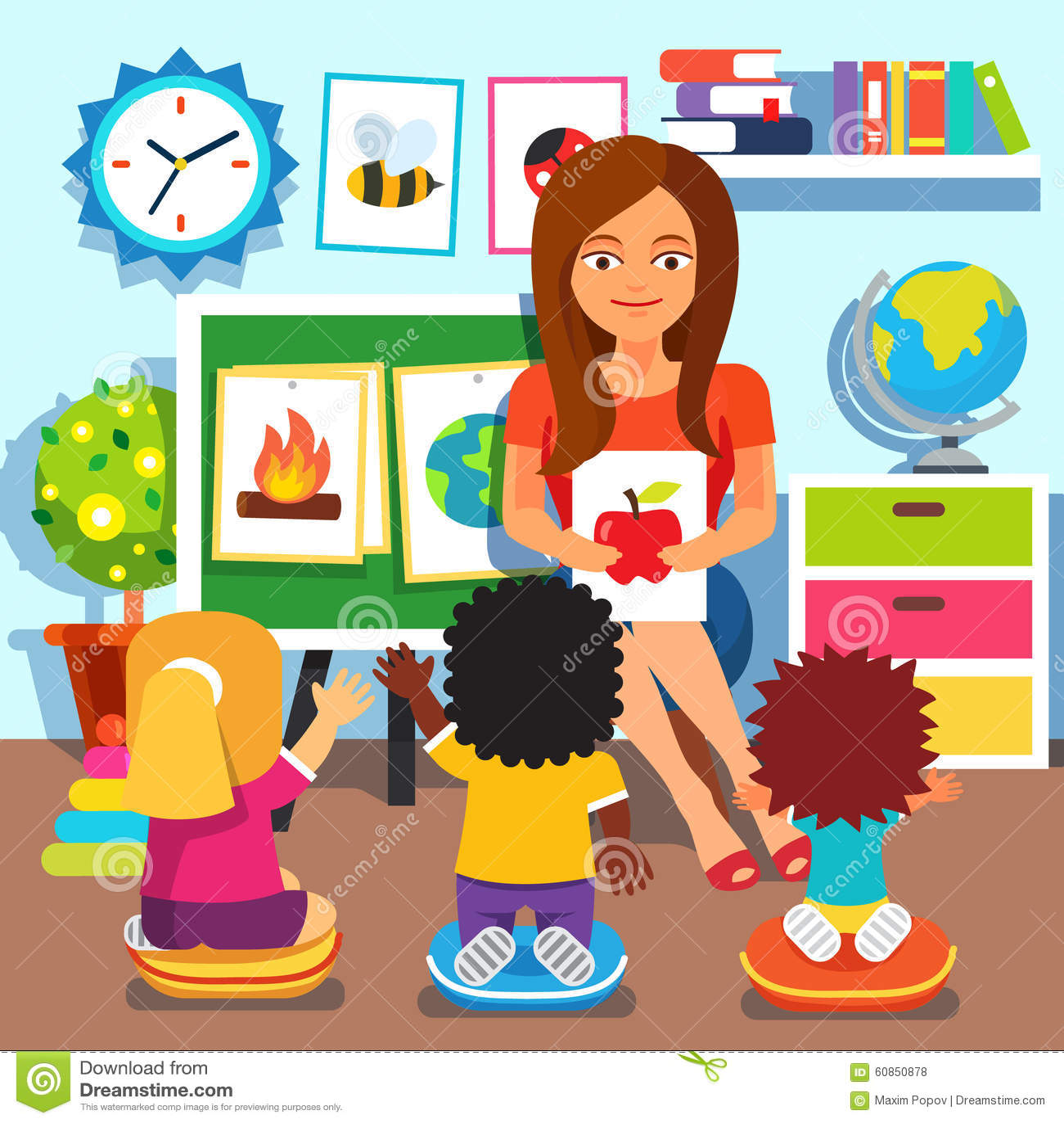 Crianças de ensino da mulher do professor de jardim de infância palavras  novas com cartões de imagem Crianças que estudam na sala de aula Ilustração  lisa do ... 78acc1d722631